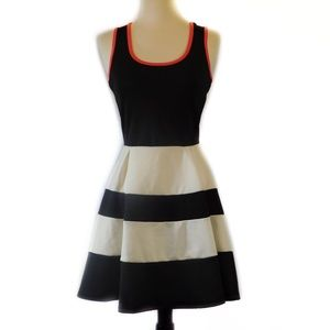Womens Black & White Striped Fit & Flare Dress XS